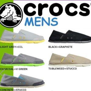Crocs Black Graphite Canvas Cabo Loafers SlipOn 10